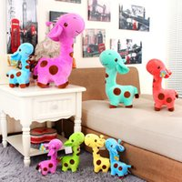 Wholesale Giraffe Soft Toys - Wholesale- New 5pcs lot 18 x 7 cm Cute Plush Giraffe Soft Toys Animal Dear Doll Baby Kids Children Birthday Gift 1pcs Free Shipping