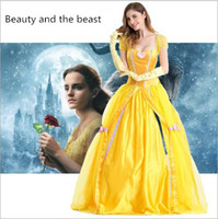 Wholesale Belle Adult Costume - 2017 new sexy belle Adult Halloween Costume Princess Dress beauty and the beast Baer Belle masquerade costume S-2XLcm