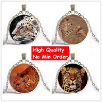 Wholesale Wholesale Cheetah Jewelry - Cheetah Leopard Animal Picture Glass Necklace Statement Necklace 2016 Pendants Necklaces Jewelry For Women And Man Weekend Deal NS146