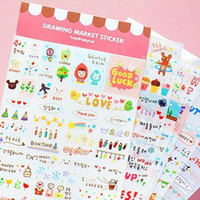 Vente en gros - 3Packs = 18 / Feuilles Kawaii Cute Drawing Market Planner Paper Diary Deco Stickers PVC Transparent Scrapbooking