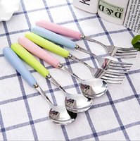 Wholesale hot sale high quality kitchen flatware sets cute ceramics handle stainless steel apoon fork set dinner set