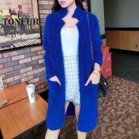 Wholesale Ladies Real Mink Jacket - Wholesale- 2017 100% Pure Mink Cashmere Long Coat Lady Fashion Real Mink Cashmere Nature Fur Jacket Wholesale OEM Sweater FP941