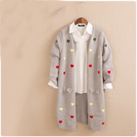 Wholesale Girls Polka Dot Cardigan - Wholesale- Japanese Women Knitting Cartoon Polka Dot Open Stitch Sweaters Knit Coat Ladies Cardigan Preppy Style Mori Girl Overcoat Outwear
