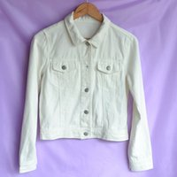 Wholesale White Jacket Denim For Women - Wholesale- Discount Original Autumn Women Short Denim White Jacket Coat Fashion Single Breasted Jean Jackets For Women Fall Lady Wear CD170