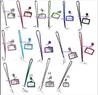 Wholesale Wholesale Bling Retractable Badge Holders - Pendant Necklaces 10pcs Each color Rhinestone Bling Crystal Lanyard ID Badge Cell Phone Retractable Reel Holder Key,Vertical ID Badge Holde