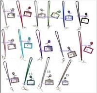 Wholesale Id Badge Reel Rhinestone - Pendant Necklaces 10pcs Each color Rhinestone Bling Crystal Lanyard ID Badge Cell Phone Retractable Reel Holder Key,Vertical ID Badge Holde