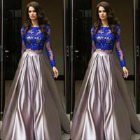 Wholesale robe soiree courte resale online - 2019 Robe de soiree courte Royal Blue Two Pieces Prom Dresses Cheap African Long Sleeves Lace Appliques Evening Prom Dresses