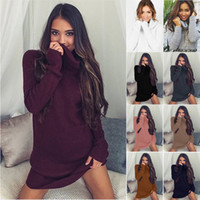 Wholesale long sweater pencil skirt - 2016 Autumn And Winter fashion Leisure Colorful High-necked Long-sleeved woman Clothing Lady Sweater Dress Sweater Skirt