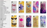Bling Liquid Quicksand Brilho Soft TPU Silicone caso para IPhone 7 / Plus / 6 6S / SE 5 5S 5C / 4 4S / Touch 6 5 Skull Lace Dreamcatcher Skin Moving