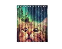 outer space fabric - Customs W x H Inch Shower Curtain Star Galaxy Outer Space Cool Cat Polyester Fabric Shower Curtain