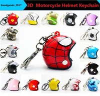 Wholesale Motorcycle Racing Keychain - Hot Pocket 3D Racing Motorcycle Helmet Keychain Key Ring Gift Moto Accessories Collect Cool Sports Promotion Gift Keychain 25 designs M828