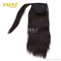 Wholesale Blonde Claw Hair Extensions - Ponytail Straight Brazilian human horsetail hair Magic ponytail 120g Tail Wrap Around Ponytails claw clip Hair Extensions