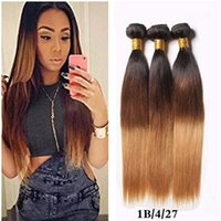 Atacado Three Tone Brown Blonde 1B 4 27 Ombre Malásia Seda Straight Human Hair Weave Cheap 9A Honey Blonde Ombre Hair Extensions