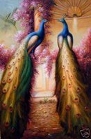 Wholesale Life Size Peacock - Free Shipping ,Lots Wholesale ,kq001#,100% HANDCRAFTS Art OIL PAINTING:Animals Peacock & Phoenix ON CANVAS, Any customized size accepted