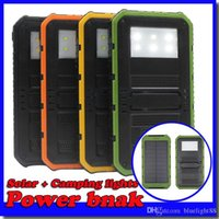 Wholesale Powerbank 2a - 20000mAh Novel solar Power Bank Ultra-thin Highlight LED Solar Power Banks 2A Output Cell Phone Portable Charger Solar Powerbank Free shippi