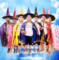 süslü önlük toptan satış-Cadılar bayramı Pelerin Kap Parti Cosplay Prop Festivali için Fantezi Elbise Çocuk Kostümleri Cadı Sihirbazı Kıyafeti Robe ve Şapka Kostüm Pelerin Çocuklar tarafından DHL