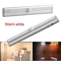 Wholesale Sensor Lighting Bedroom - 2017 New Intelligent Light PIR Motion Sensor 10 LED Wireless Wall Lamp Night Light Cabinet Drawer Wardrobe Magnet Lamp For Bedroom
