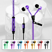Wholesale Earphones Jack White - Zipper Headset 3.5mm Stereo Music Headphones Jack Bass Earphone With Mic For iPhone 7 6Plus 5S Samsung S6 S5with pack