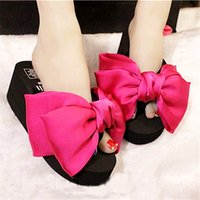Wholesale Big Toe Slippers - Big bow woman platform slippers clip toe high heels sandals two bow-knot flipflops fashion 10 colors flipflops beach sandals4142 number 39