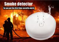 alarmas de incendio inalámbricas gratis al por mayor-2pc Detector de humo inalámbrico Detector de humo de alarma de seguridad para el hogar detector de humo envío gratis