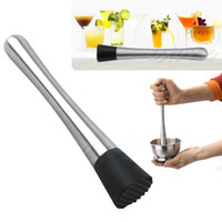 blender ice crush - Stainless Steel Cocktail Stir Bar Bar Blender Drink Mojito Cocktail DIY Fruit Muddler Crushed Ice Wine Tool Bar