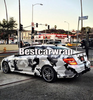 Wholesale carbon black stickers for car online - White Grey black Large Camouflage Vinyl Car Wrap For Car truck Boat covering foil with air free Camo styling size x m Roll