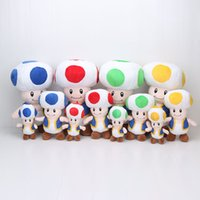 Wholesale Super Mario Plush Toys Toad - 4 colors for choose Super Mario Bros Mushroom Toad Plush Doll Kids Toys Approx 7''-16'' 3size