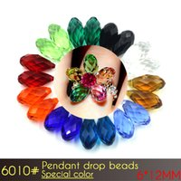 Wholesale Sport Flags For Cheap - 6x12mm Teardrop Crystal Glass Bead Special colors Briolette Pendant A6010 100pcs set Cheap Loose Beads For Curtains Making