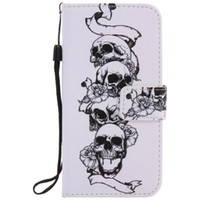 Wholesale S3 Skull - Painted Skull flip leather case for Samsung Galaxy S3 S4 S5 S6 S7 edge card cover Card slot wallet with kickstand phone stand
