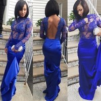 Wholesale Womens Through - Womens Evening Dresses Royal Blue Illusion Backless See Through Mermaid Long Sleeved Prom Party Gowns High Neck Sexy Abendkleider