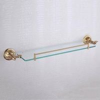 Wholesale Bathroom Accessories Glass Shelf - Golden Single Glass Shelves 304 Stainless Steel and Copper Wall Mounted Bathroom Accessories Glass Shelf with Great Pattern, Bronze
