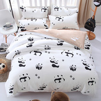 Wholesale Kids Single Bedding Sets - Cartoon Panda Bedding Set Black White Duvet Cover Bed Set Single Double Queen King Size Kids Bed Sheets Bedlinens