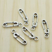 Wholesale Sewing Safety Pins - Wholesale- 50pcs Safety Pin Sewing Charm, Antique Silver Charm pendants 29x6mm