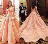 Wholesale Strapless Short Dress Pick Up - 2017 New Blush Luxury Prom Dresses Vestidos De Fiesta Sheer Neckline Off Shoulders Lace Appliques Beaded A-line Quinceanera Dresses