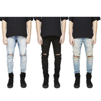 Wholesale Men Slim Fit Fashion Jeans - Free Shipping Men Hi-Street Slim Fit Ripped Jeans Mens Distressed Denim Joggers Knee Holes Washed Destroyed Jeans