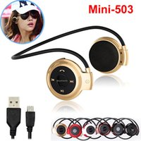 Wholesale Cell Phone Radios - Mini503 Wireless Headphones Bluetooth Mini 503 Sport Music Stereo Earphones + Micro SD Card Slot + FM Radio For iPhone Sumsung cell phone