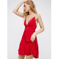 Wholesale Vacation Dresses - 2017 Women V collar beach sexy dress strapless backless boho holiday dress summer vacation mini dresses pleated red short dress
