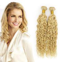 Wholesale 22 wavy blonde hair extensions - Wholesale Blonde Peruvian Water Wave Virgin Hair Extension 3Pcs Lot 100% Remy Human Hair Top Qulaity 613 Blonde Wet and Wavy Virgin Hair