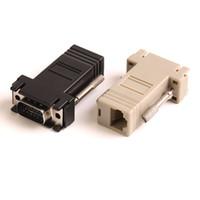 conectores hembra de cable lan al por mayor-ZJT40 15PIN VGA a RJ45 conector Nuevo VGA Extender Macho a Lan Cat5 Cat5e RJ45 Ethernet adaptador hembra