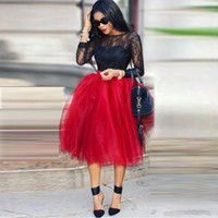 Wholesale Tea Length Tulle Skirt Dress - 2017 New Red Puffy Tulle Skirts For Women African Black Girls Party Dresses Custom Made Tea Length Tutu Maxi Casual Skirts Ball Gown