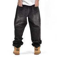 Wholesale Denim Fat Pants - Wholesale-2016 Fat Mens Baggy Jeans Hip Hop Loose Embroidery Denim Pants Plus Size P3096
