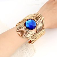 Wholesale Imitation Gemstone Wide Hollow Out Bracelets Vintage Wide Open Bangles New Luxury Fashion Women Jewelry