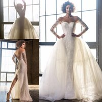 Wholesale Pastel Buttons - 2017 New Fashin Mermaid Wedding Dresses With Detachble Train Sheer Neck Long Sleeves Illuison Button Back Back Split Wedding Bridal Gowns