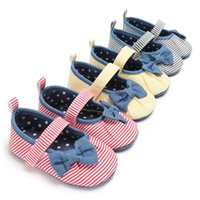 Wholesale Stripe Bow Shoes - litter Girls Princess Shoes New Autumn Stripe Bow Baby Shoes Sweet Toddler First Walkers soft-soled Infant Shoes Toddler Prewalker 1608