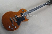 Wholesale Pieces Lp - Top Factory Custom Shop Natural wood brown One Piece Neck Mahogany Body LP Standard Electric Guitar Free Shipping 2015 1