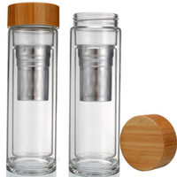 Wholesale Double Wall Glass Bottle - 25pcs lot Free shipping Wholesale 400ml Bamboo lid Double Walled glass tea tumbler. Includes strainer and infuser basket