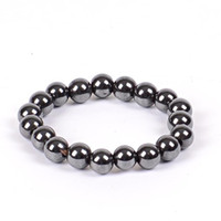 Wholesale Health Care Magnetic - Women Black 6 8 10 Cool Magnetic Bracelet Beads Hematite Stone Therapy Health Care Magnet Hematite Beads Bracelet Men's Jewelry