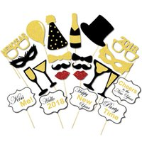 Wholesale Mustache Gold - 2018 New Year Party Masks 8 Styles Gold Glitter Shinning Mustache Lips Camera Crown Tie Necktie Pipe Wine Slogan Hat Photo Booth Props