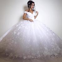 ingrosso abito da sposa moderno di hijab-Dubai abiti da sposa in pizzo vintage grande abito da ballo arabo abiti da sposa fuori spalla pizzo indietro piano lunghezza bianco avorio splendido abito