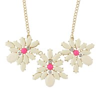 Wholesale Candy Color Collar Necklace - New Fashion Jewelry Gold-Color Chain with Candy Color Flower Collar Choker Necklace Schmuck Women Acessorios
